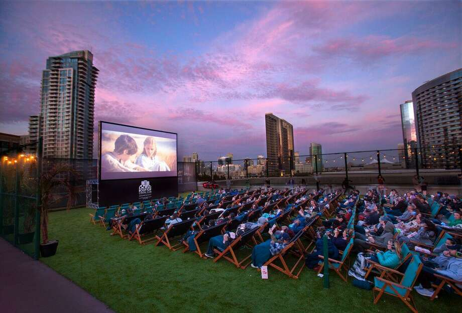 Moviegoers enjoy a film at a Rooftop Cinema Club venue in San Diego. Photo: Courtesy Of Rooftop Cinema USA
