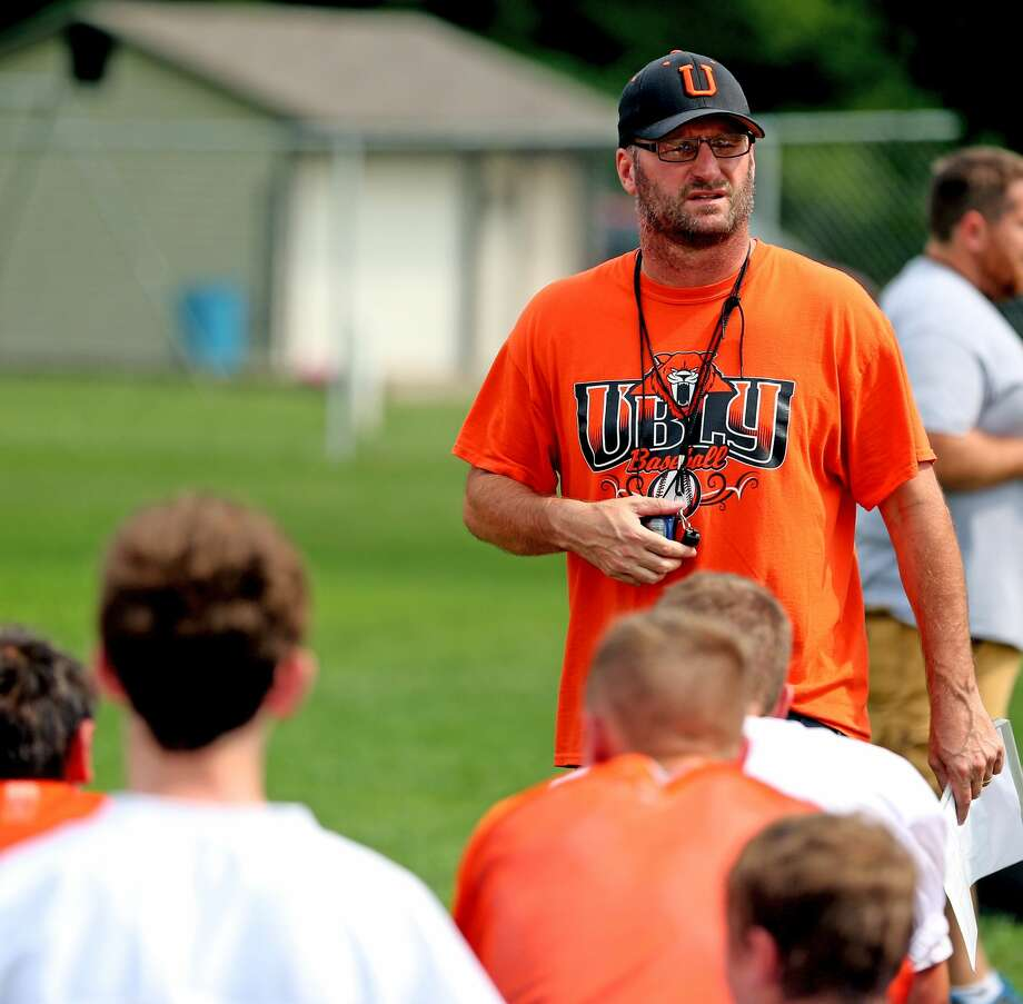 First-year Ubly head coach Jim Becker talks with his team during Tuesday's practice. Becker has been a fixture in the Ubly football program, serving as an assistant for 20 years. (Paul P. Adams/Huron Daily Tribune) Photo: Paul P. Adams/Huron Daily Tribune
