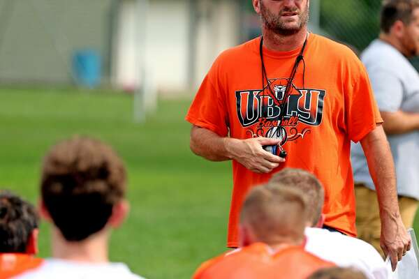 First-year Ubly head coach Jim Becker talks with his team during Tuesday's practice. Becker has been a fixture in the Ubly football program, serving as an assistant for 20 years. (Paul P. Adams/Huron Daily Tribune)