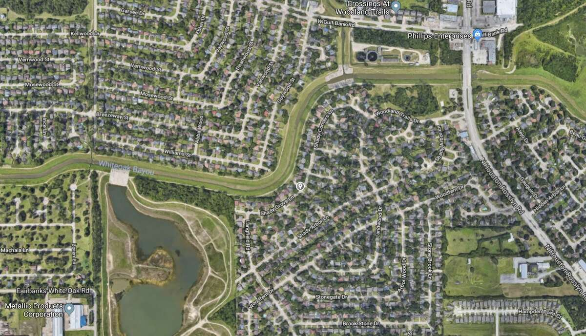 Google Maps satellite image of the 7300 block of Shady Grove Lane in northwest Houston.