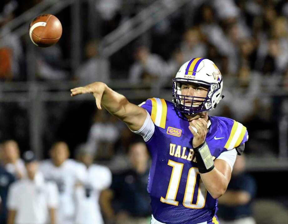 Albany Great Danes quarterback Neven Sussman (10) throws a pass against the Monmouth Hawks during the first half of an NCAA college football game on Saturday, Sept. 16, 2017, in Albany, N.Y. (Hans Pennink / Special to the Times Union) ORG XMIT: HP128 Photo: Hans Pennink / Hans Pennink