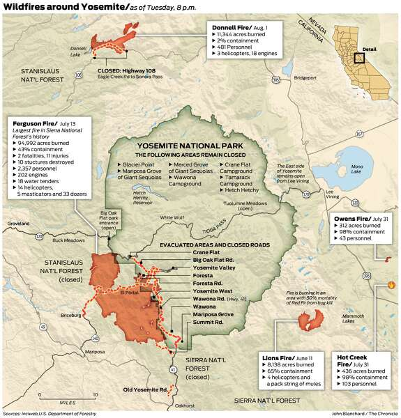 Fire Map Yosemite.As Wildfire Blazes On Yosemite Area Tourist Industry Ravaged
