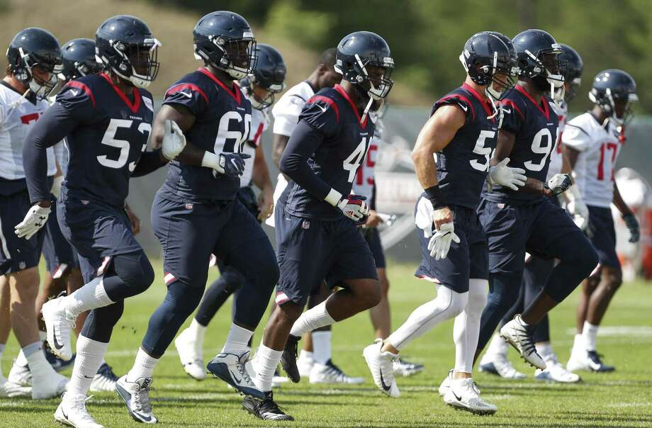 PHOTOS: 5 things to watch for when the Texans face the Chiefs in the preseason opener Houston Texans players warm up during training camp at the Greenbrier Sports Performance Center on Tuesday, Aug. 7, 2018, in White Sulphur Springs, W.Va. >>>Here are five things to watch during the Texans' preseason opener against the Chiefs ... Photo: Brett Coomer, Staff Photographer / Houston Chronicle / © 2018 Houston Chronicle