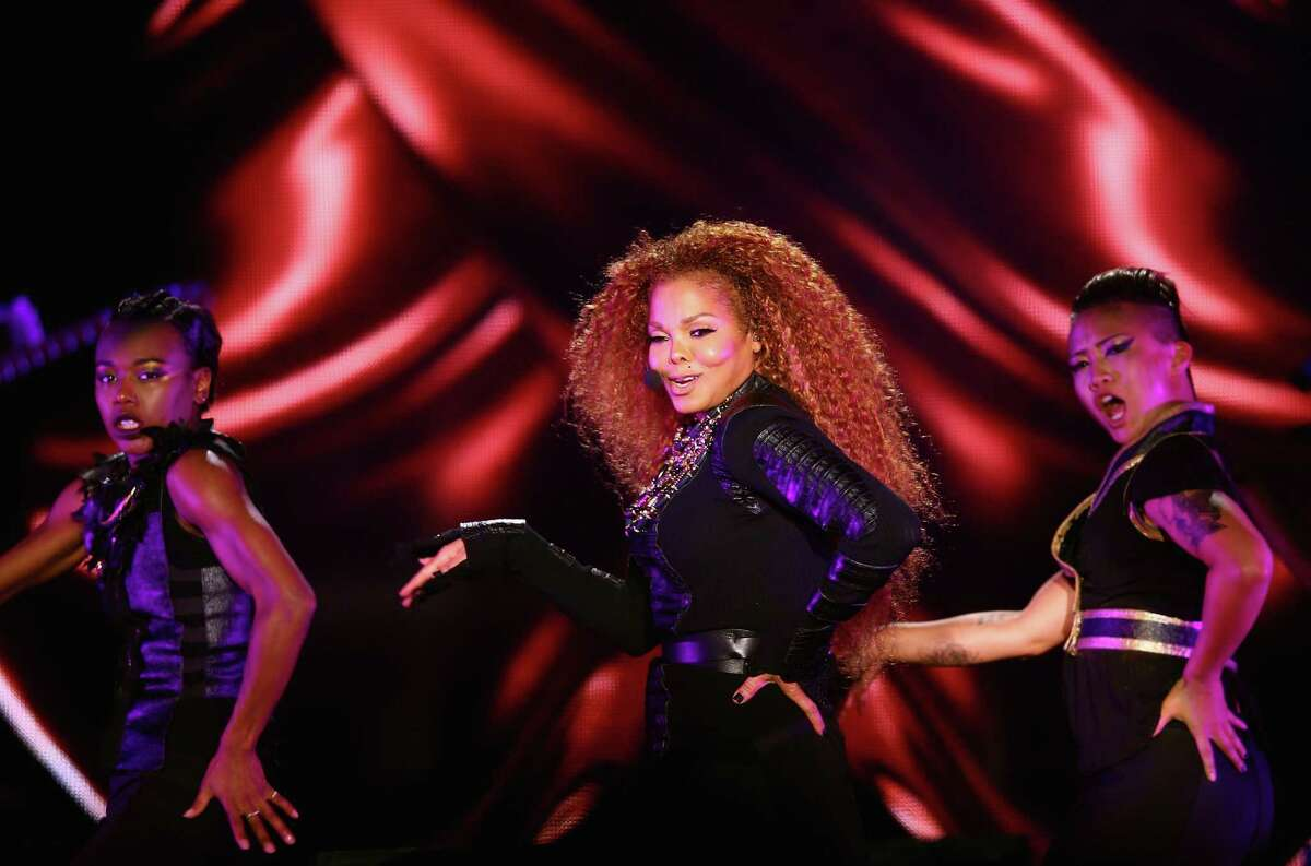 Janet Jackson performs after the Dubai World Cup at the Meydan Racecourse on March 26, 2016 in Dubai, United Arab Emirates.