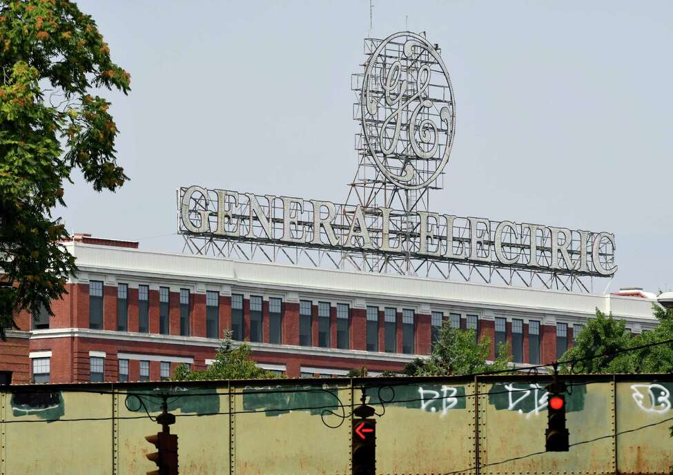 The General Electric sign is seen from Edison Avenue on Tuesday, Aug. 7, 2018, in Schenectady, N.Y. (Will Waldron/Times Union)