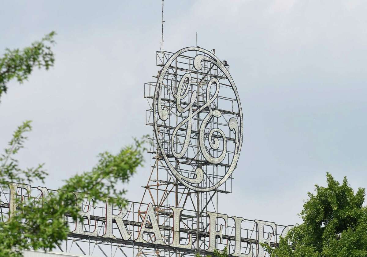 The General Electric sign is seen from Edison Avenue on Tuesday, Aug. 7, 2018, in Schenectady, N.Y. GE is laying off 200 hourly workers at its Schenectady plant as the company still appears to be wrangling with costs in its troubled GE Power unit. (Will Waldron/Times Union)