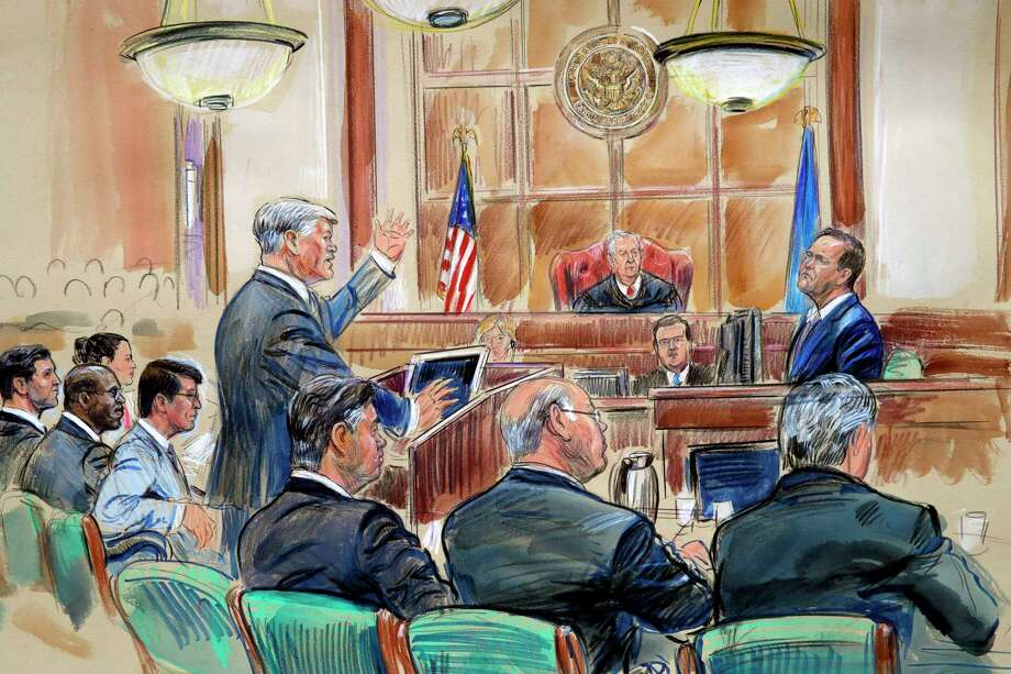This courtroom sketch depicts defense lawyer Kevin Downing asking questions of Rick Gates, as former Donald Trump campaign chairman Paul Manafort, bottom front left, listens during Manafort's trial on bank fraud and tax evasion at federal court in Alexandria, Va., Tuesday, Aug. 7, 2018. U.S. District court Judge T.S. Ellis III presides. (Dana Verkouteren via AP) Photo: Dana Verkouteren / Dana Verkouteren