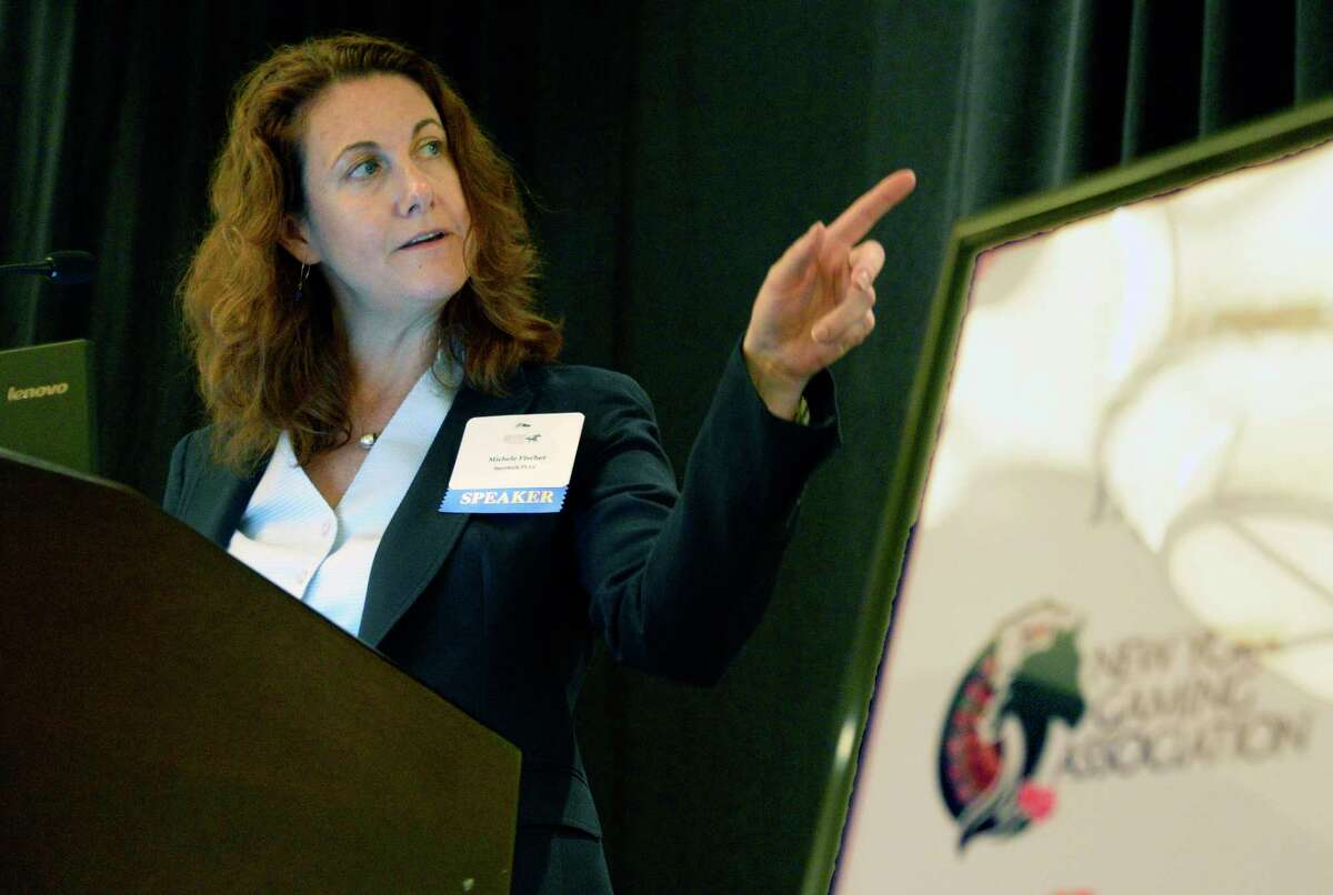 Sportech's Michele Fischer speaks during the Saratoga Institute on Equine, Racing, and Gaming conference Tuesday August 7, 2018 in Saratoga Springs, NY. (John Carl D'Annibale/Times Union)