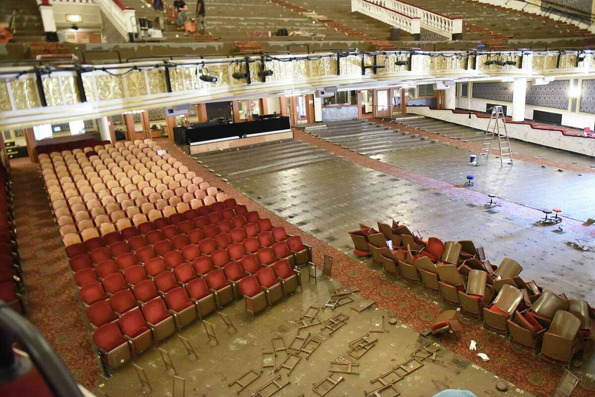 Seats are removed during a restoration phase at Proctors on Tuesday, Aug. 7, 2018 in Schenectady, N.Y. All 2,565 existing fixed seats at Proctors are being replaced by Irwin Seating Company of Grand Rapids, Mich. (Lori Van Buren/Times Union)