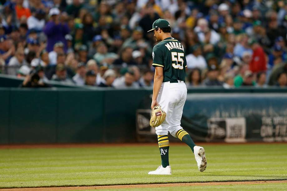 Starting pitcher Sean Manaea #55 of the Oakland Athletics exits the game in the third inning against the Los Angeles Dodgers at Oakland Alameda Coliseum on August 7, 2018 in Oakland, California. Photo: Lachlan Cunningham / Getty Images