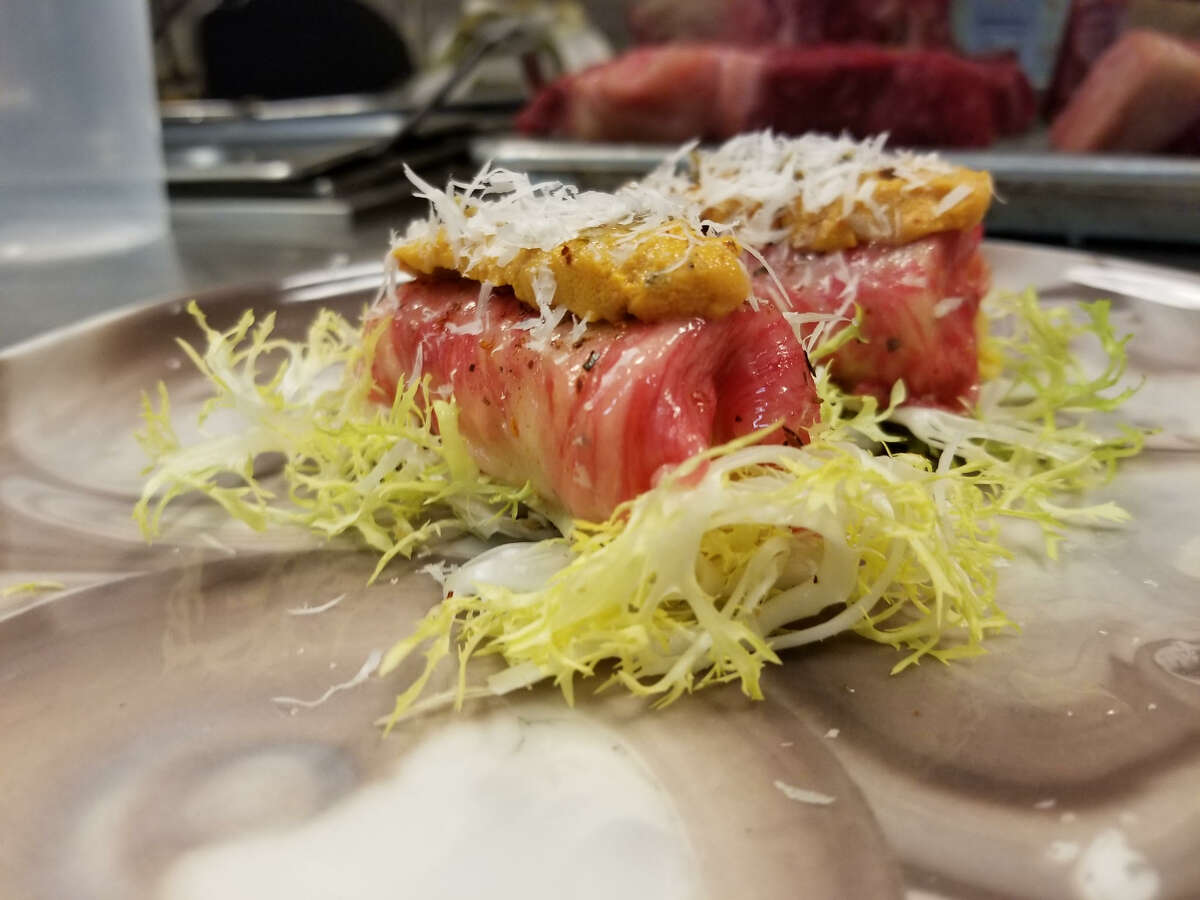 Miyazaki A5 wagyu with Santa Barbara, Calf., uni is an example of the nigiri that sushi chef Yoshi Katsuyama may serve at Aqui.