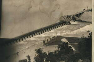 Aerial view of Lake Houston dam and spillway in Texas.