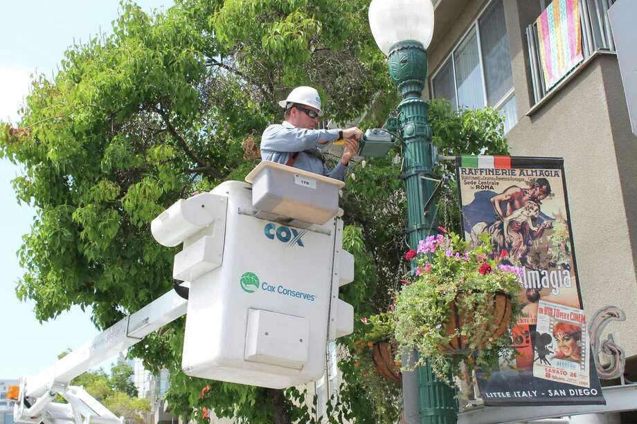 A Cox Communications technician on the job in San Diego.
