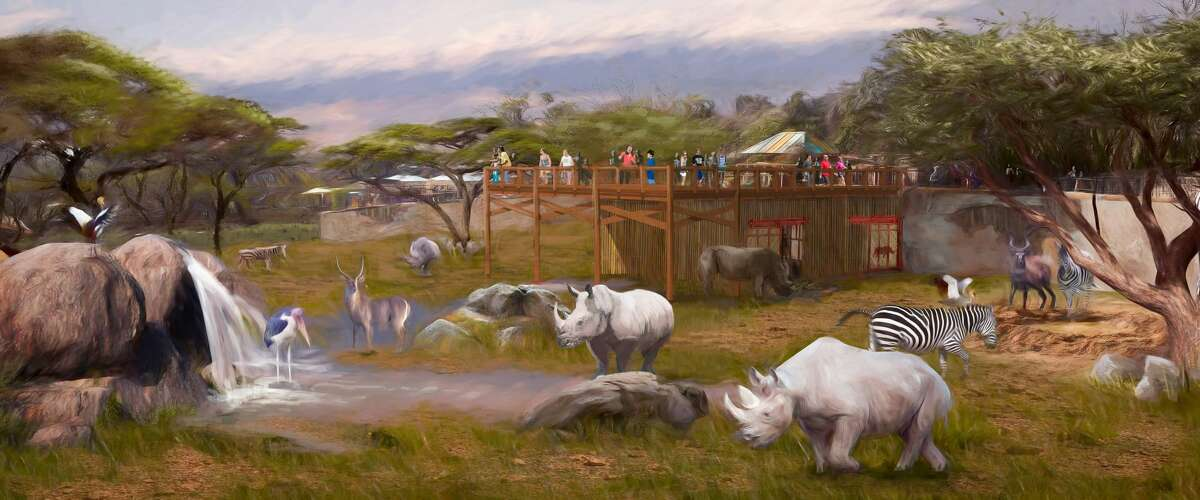 Rendering of upcoming renovations to the rhino habitat at the San Antonio Zoo.