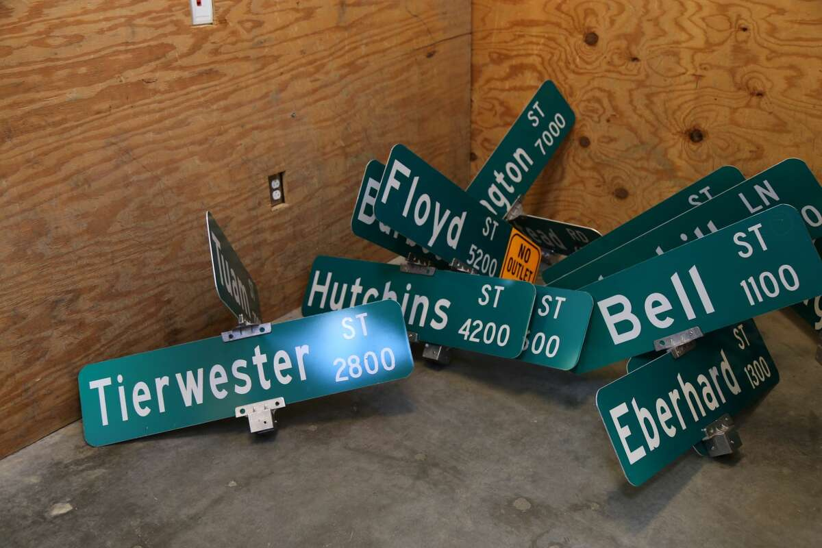 The City of Houston's road sign shop at 2200 Patterson is responsible for maintaining and replacing the more than one million signs around Houston.