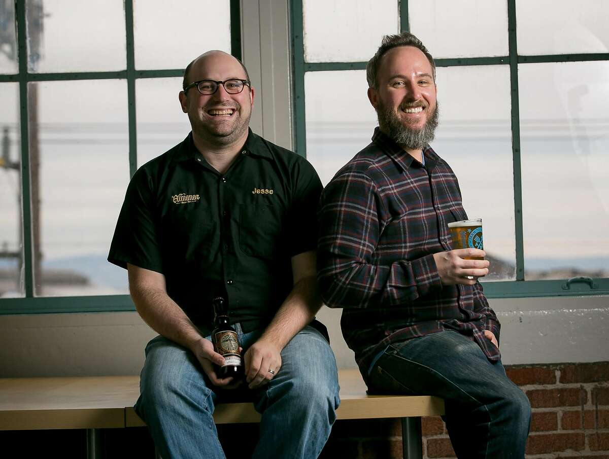 Brewers Jesse Friedman and Damian Fagan, (beard), of Almanac Brewing in their offices in San Francisco, Calif., on December 6th, 2013.