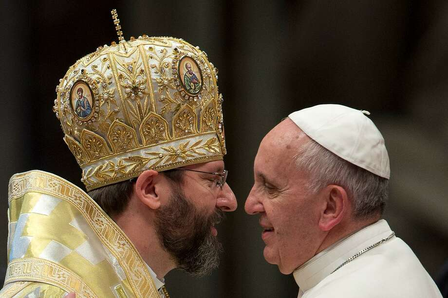 Sviatoslav Shevchuk, left, Major Archbishop of the Ukrainian Greek Catholic Church, met with Pope Francis in 20013. Photo: Andrew Medichini / ASSOCIATED PRESS / AP2013