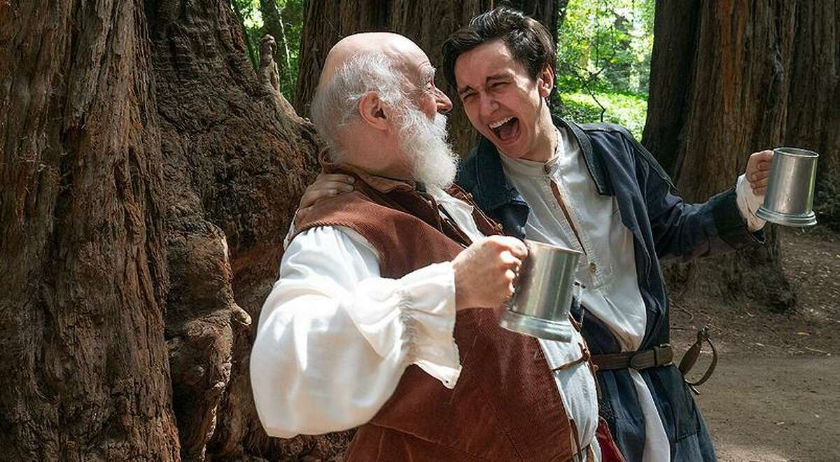 """John Falstaff (Grey Wolf, left) guffaws with Prince Hal (Nick Moore) in Curtain Theatre's """"Henry IV, Part 1."""""""