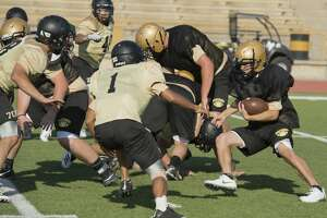 Andrews players run drills 08/08/18 morning during practice. Tim Fischer/Reporter-Telegram