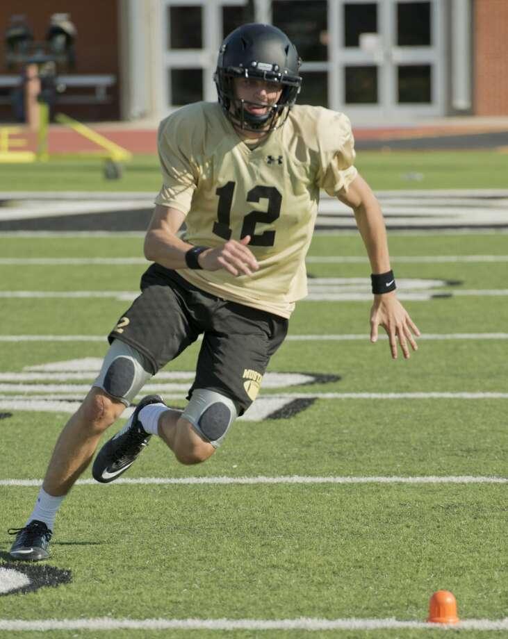 Andrews quarterback Brett Leach runs drills 08/08/18 morning during practice. Tim Fischer/Reporter-Telegram Photo: Tim Fischer/Midland Reporter-Telegram