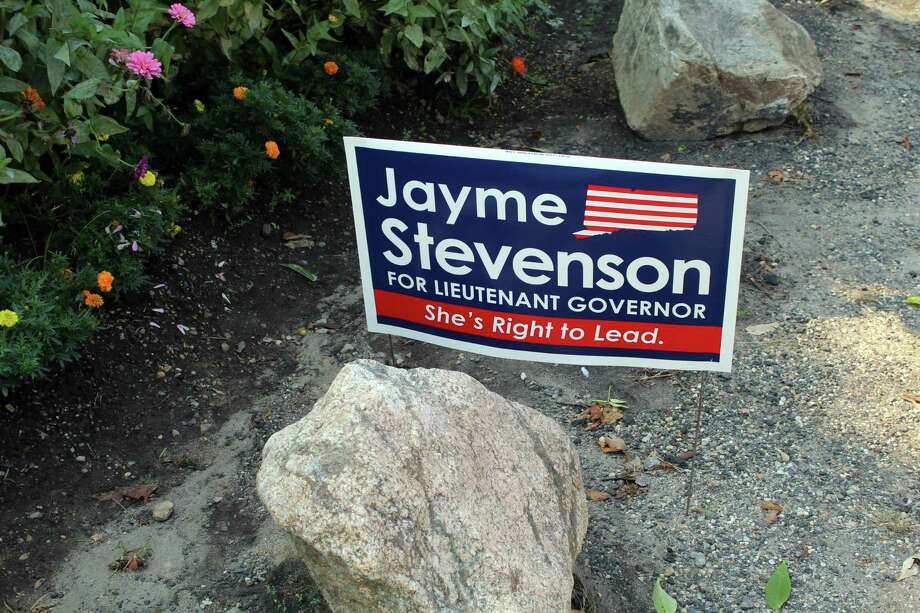 One of the campaign signs of Jayme Stevenson, candidate for lieutenant governor. Taken Aug. 6. Photo: /provided By Lynandro Simmons, Hearst Media
