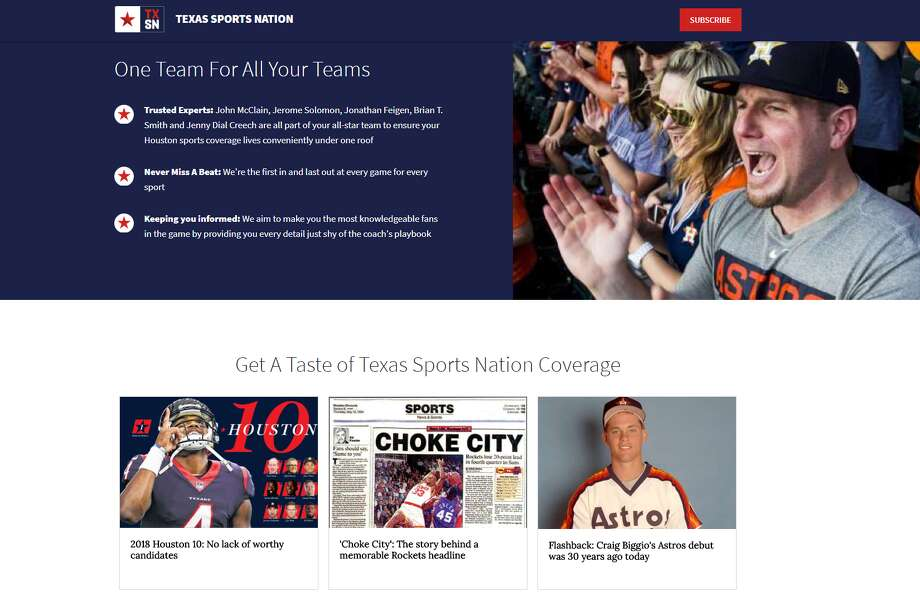 TXSportsNation.com is your ticket inside the Texans, Astros, Rockets and the rest of Houston sports that matter to you. Photo: .