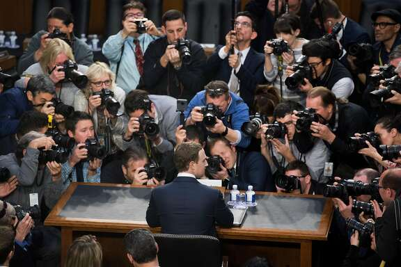 Facebook CEO Mark Zuckerberg getting ready to testify before a joint hearing of the Senate Judiciary and Commerce Committees in April 2018.