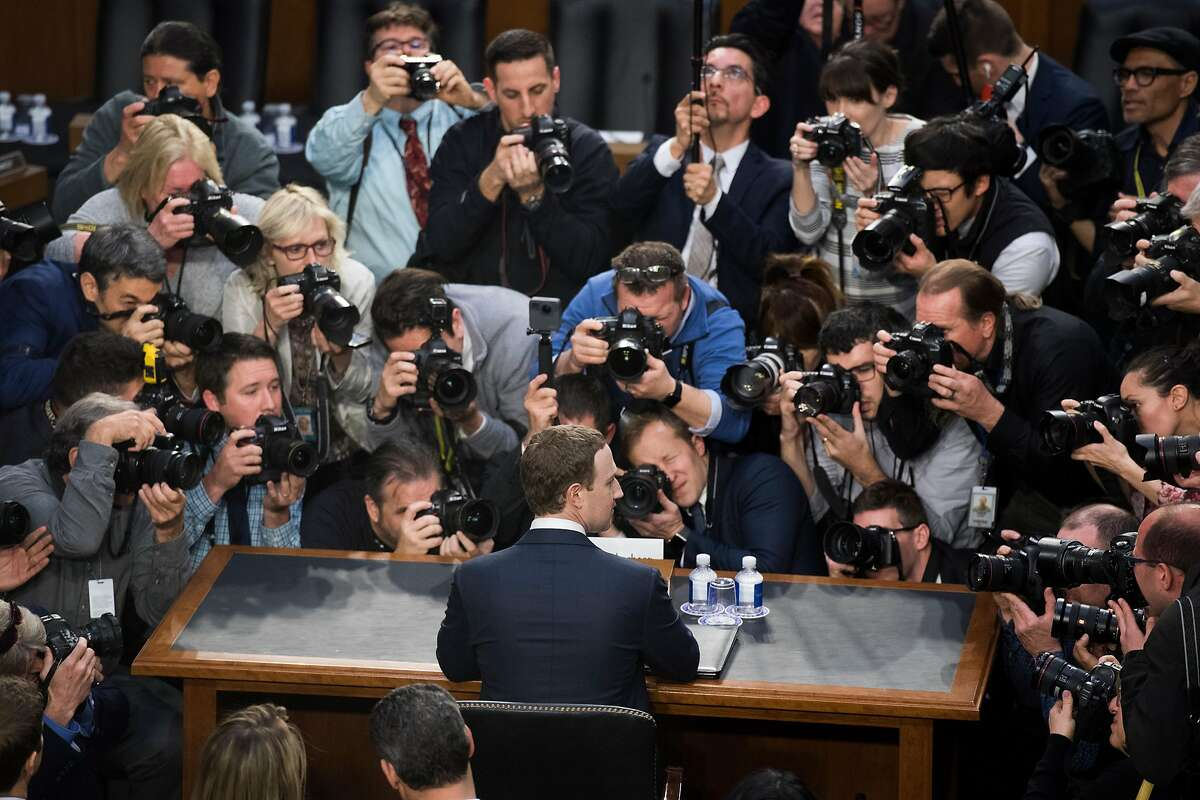 Facebook CEO Mark Zuckerberg getting ready to testify before a joint hearing of the Senate Judiciary and Commerce Committees in April 2018. Big tech companies are under fire on both sides of the aisle.