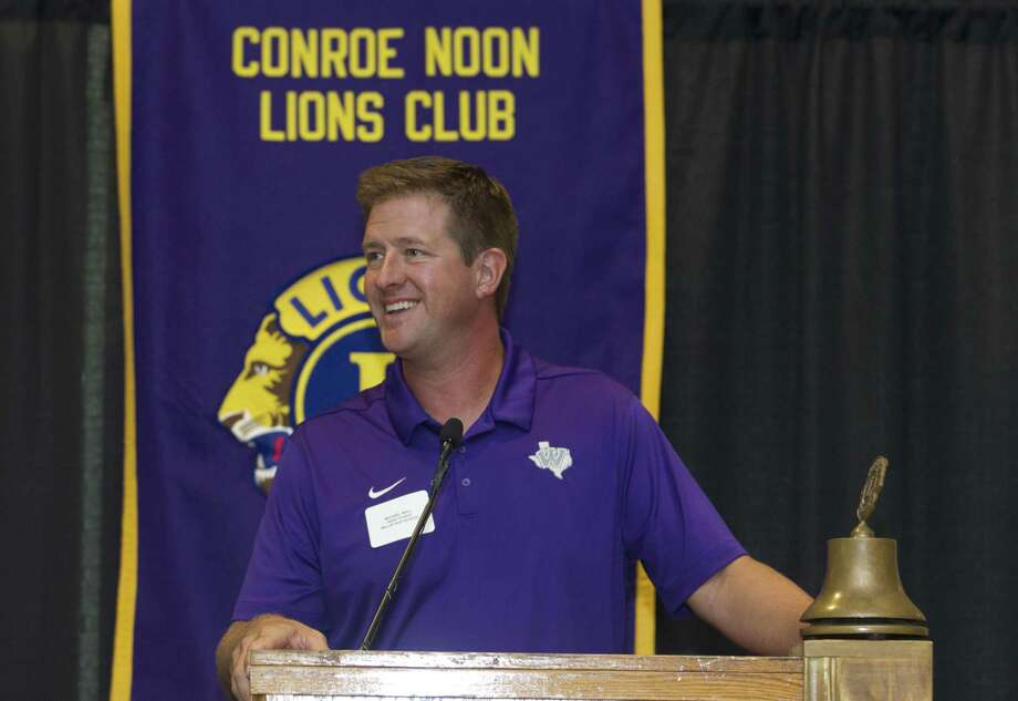 Willis head coach Michael Wall talks about the upcoming football season during the Conroe Noon Lions Club's annual Pigskin Preview at the Lone Star Convention & Expo Center on Wednesday in Conroe. Photo: Jason Fochtman, Staff Photographer / Houston Chronicle / © 2018 Houston Chronicle