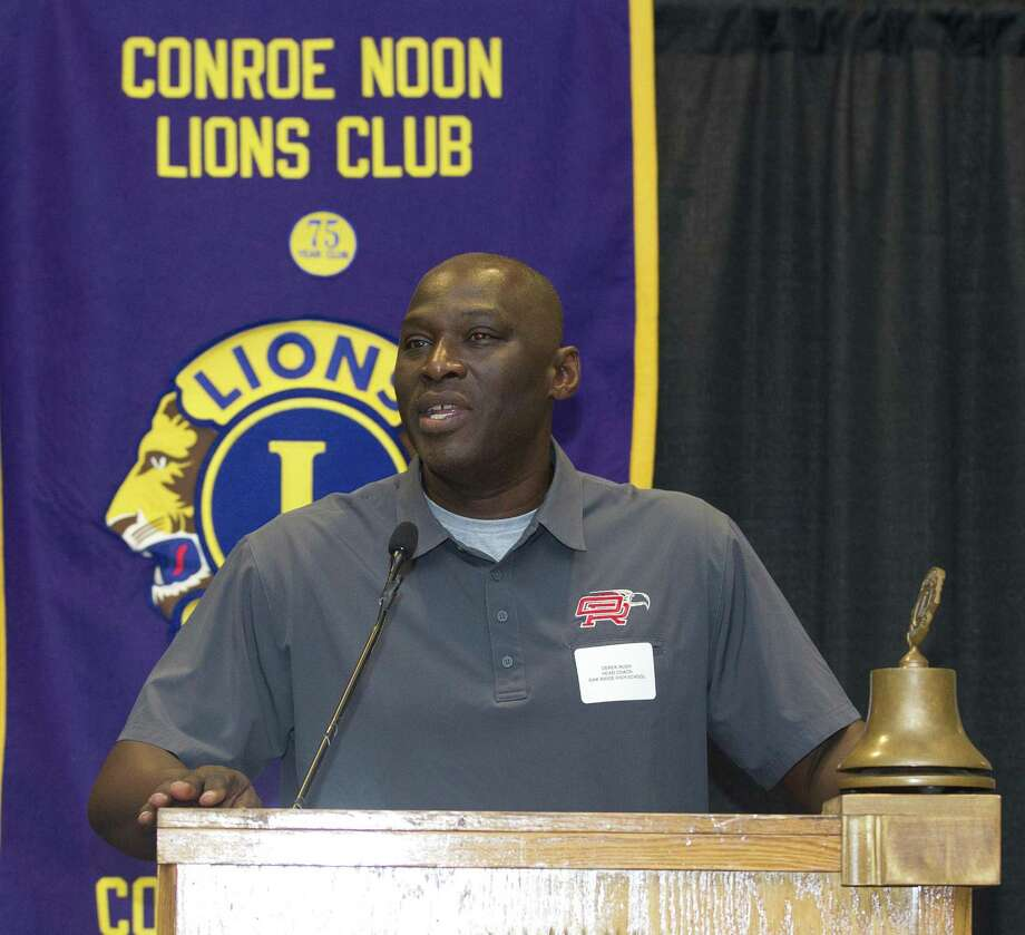 Oak Ridge head coach Dereck Rush talks about the upcoming football season during the Conroe Noon Lions Club's annual Pigskin Preview at the Lone Star Convention & Expo Center on Wednesday, Aug. 8, 2018, in Conroe. Photo: Jason Fochtman, Staff Photographer / Houston Chronicle / © 2018 Houston Chronicle