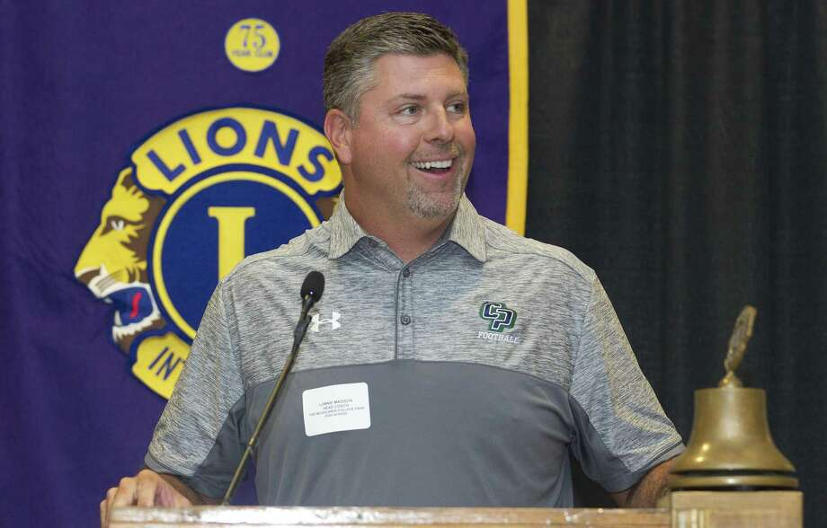 College Park head coach Lonnie Madison talks about the upcoming football season during the Conroe Noon Lions Club's annual Pigskin Preview at the Lone Star Convention & Expo Center on Wednesday, Aug. 8, 2018, in Conroe. Photo: Jason Fochtman, Staff Photographer / Houston Chronicle / © 2018 Houston Chronicle