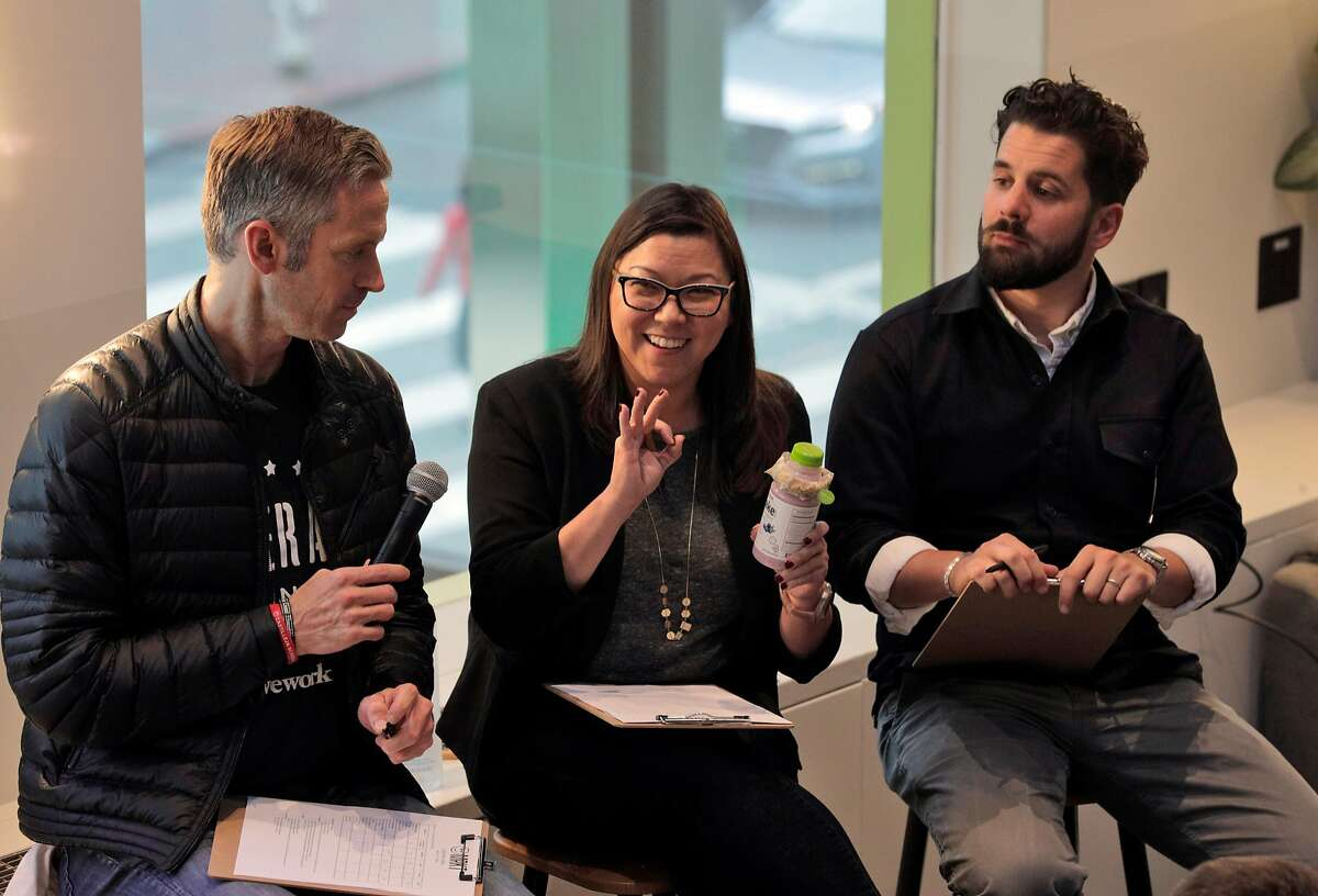 L-R, judges Jon Slavet, managing director for WeWork west, Annette Cardwell, VP editorial at Britt+Co, Charles Bililies, founder and CEO of Souvla, during pitch night for the new WeMRKT concept at WeWork in San Francisco Calif., on Tuesday, August 7, 2018. The company will partner with businesses, both food and dry goods retailers, to hold pop-up shops inside WeWorks, open to members and their guests.