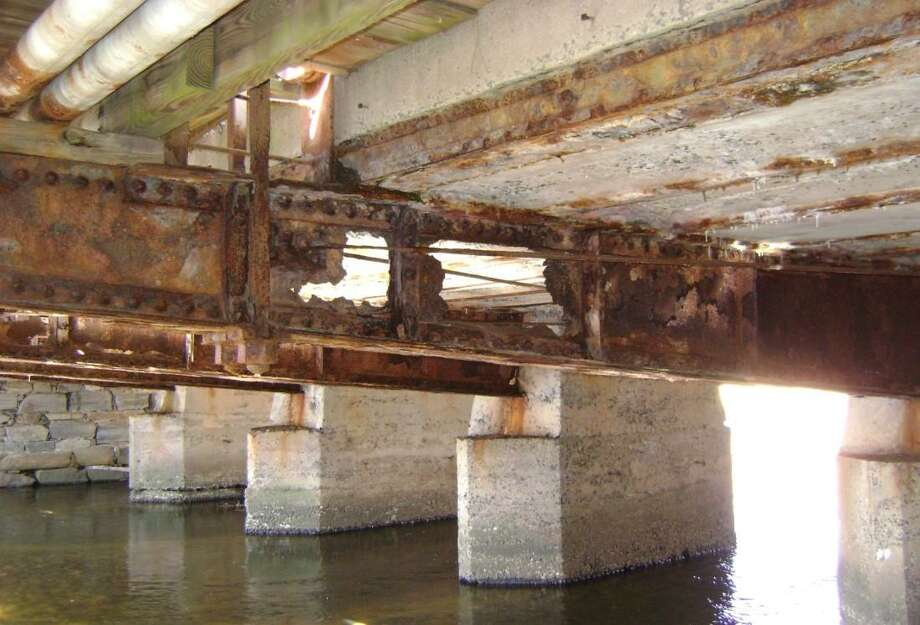 The floor beams of the West Main Street bridge have eroded. Photo: Photo Courtesy Of The City Of Stamford