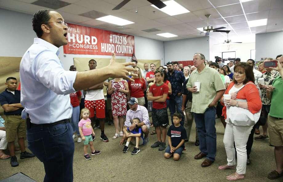 U.S. Congressman Will Hurd greets supporters at his northside headquarters on August 4, 2018. Photo: Tom Reel, Staff / Staff Photographer / 2017 SAN ANTONIO EXPRESS-NEWS