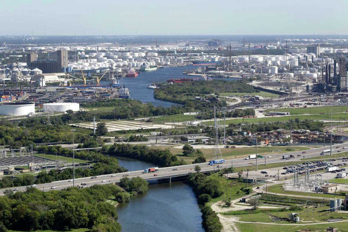 An aerial view of Sims Bayou and 225 La Porte Freeway is shown in the foreground during a Houston Parks Board Bayou Greenways 2020 project tour in October 2017.