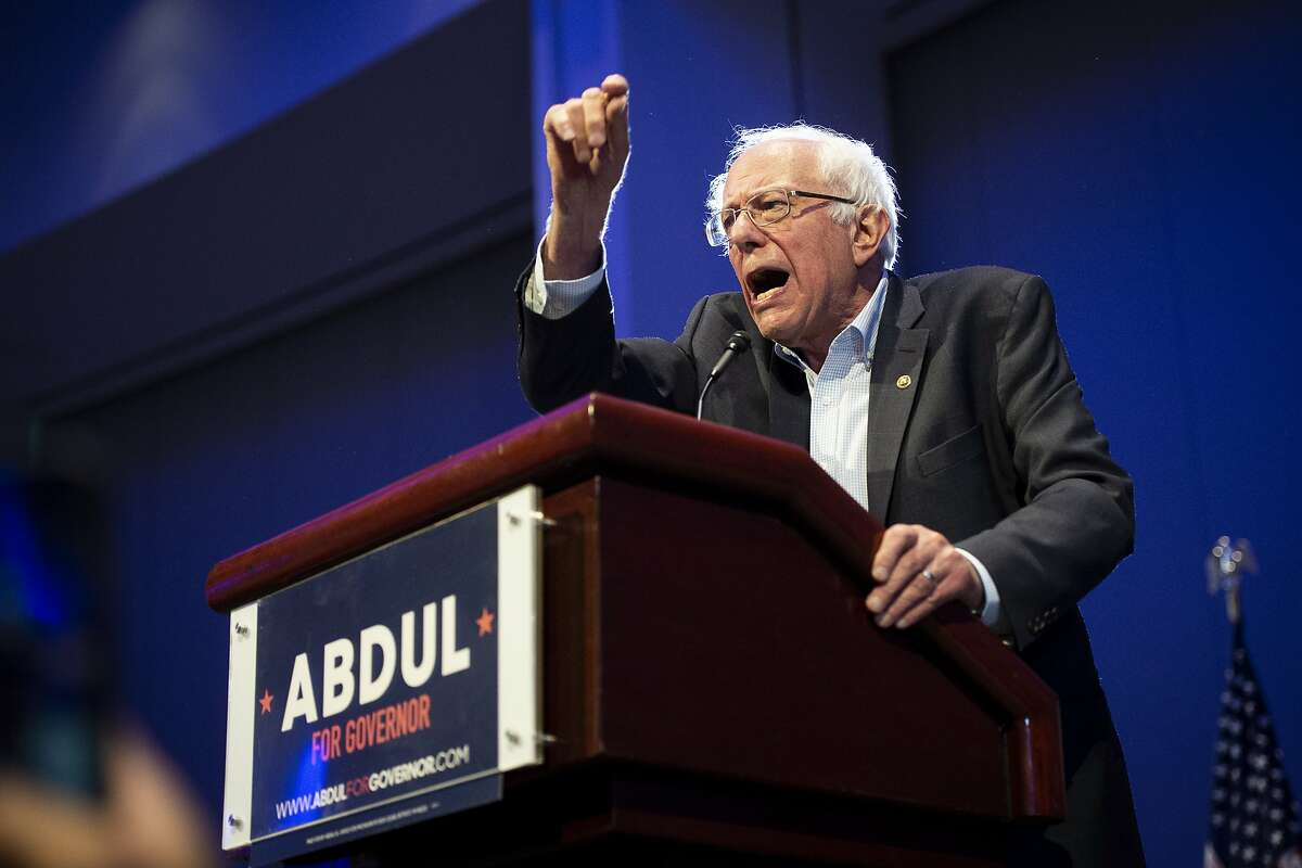 U.S. Sen. Bernie Sanders (I-Vermont) speaks in support of Abdul El-Sayed at a Get Out The Vote rally for Michigan Democratic gubernatorial candidate Abdul El-Sayed at Cobo Center in Detroit on Sunday, Aug. 5, 2018. (Jacob Hamilton/Ann Arbor News via AP)