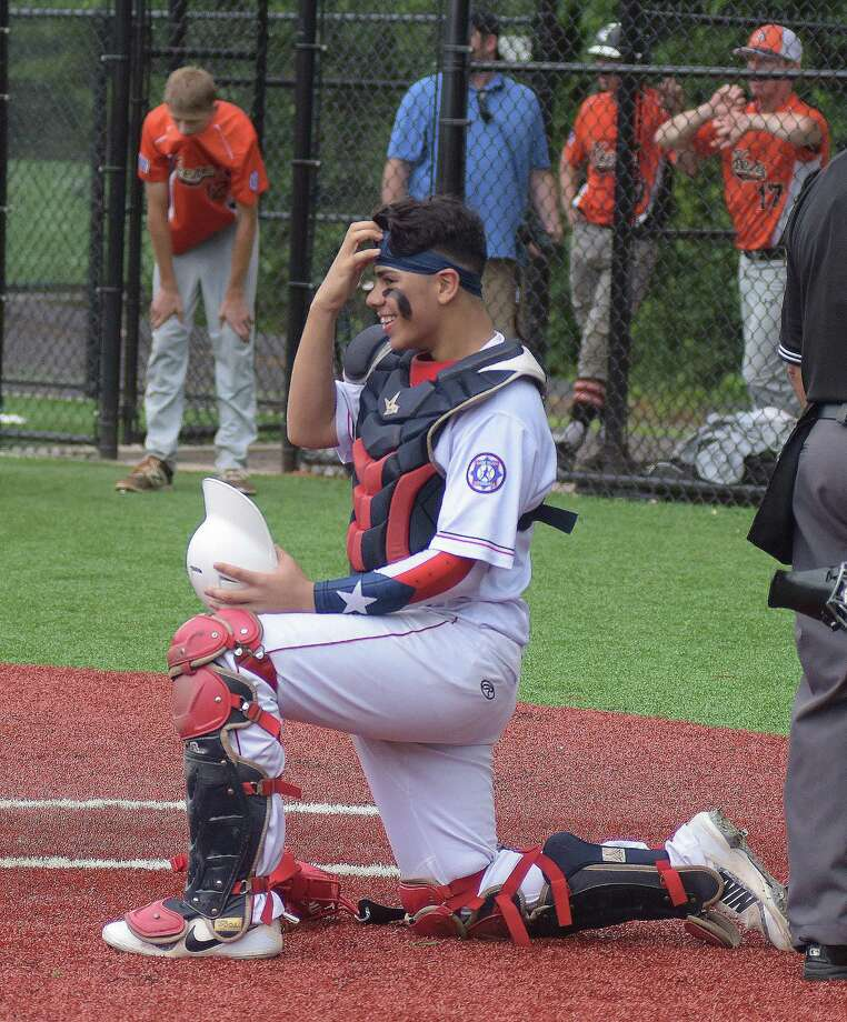 Catcher Jaden Echevarria will help lead the Norwalk Revolution Babe Ruth 14-year-old All-Stars in the 2018 age-group World Series this week in Eagle Pass, Texas. The Revolution, representing New England, will face the Mid-Atlantic Regional champs from the Jersey Shore at 1 p.m,. on Thursday. Photo: John Nash /Hearst Connecticut Media