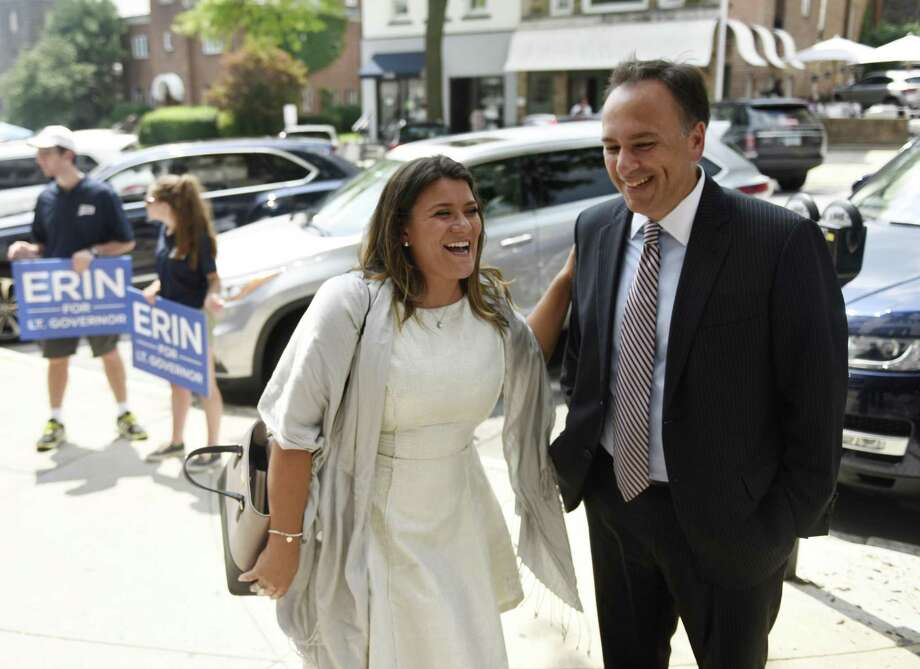 New Britain Mayor and Leiutenant Governor candidate Erin Stewart tours local businesses with Greenwich First Selectman Peter Tesei to drum up support for Stewart's campaign in Greenwich, Conn. Wednesday, Aug. 8, 2018. Photo: Tyler Sizemore / Hearst Connecticut Media / Greenwich Time