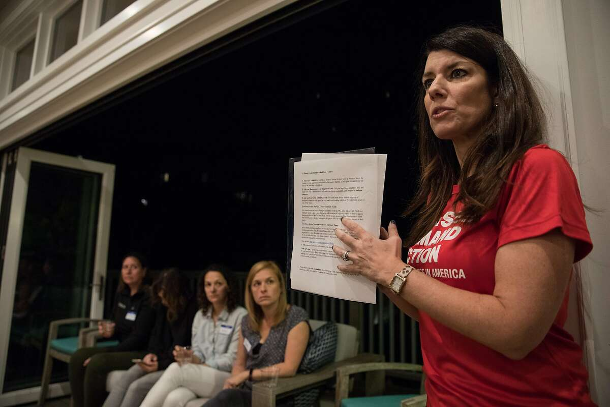 on Sunday, Oct. 8, 2017 in San Francisco, CA Catherine Stefani, Moms Demand Action for Gun Sense SF local group leader and SF County Clerk, leads an informational meeting about the gun advocacy group for women from San Francisco and around the Bay area at the home of Rhiana Maidenberg, in San Francisco on Sunday October 8, 2017.