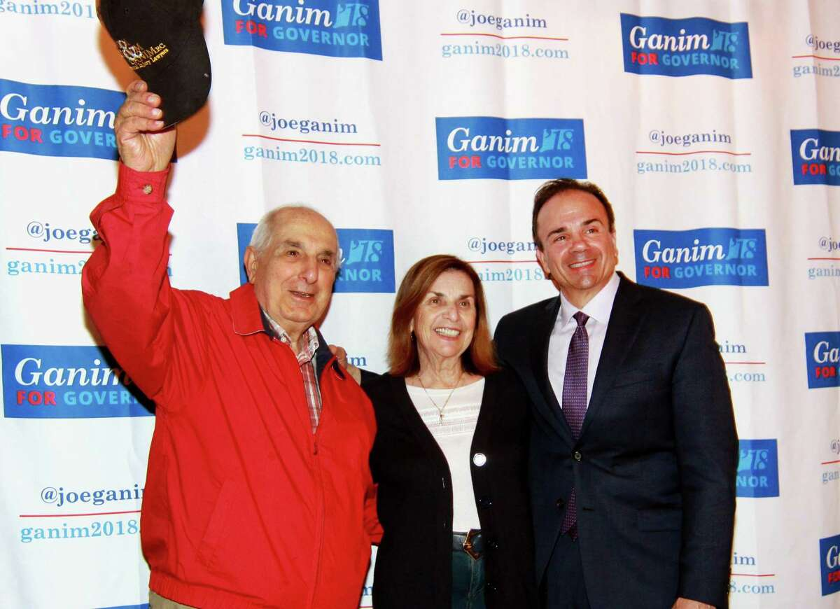 Bridgeport Mayor Joe Ganim with his dad and mom, George and Josephine, at a May fundraiser for his campaign for governor.