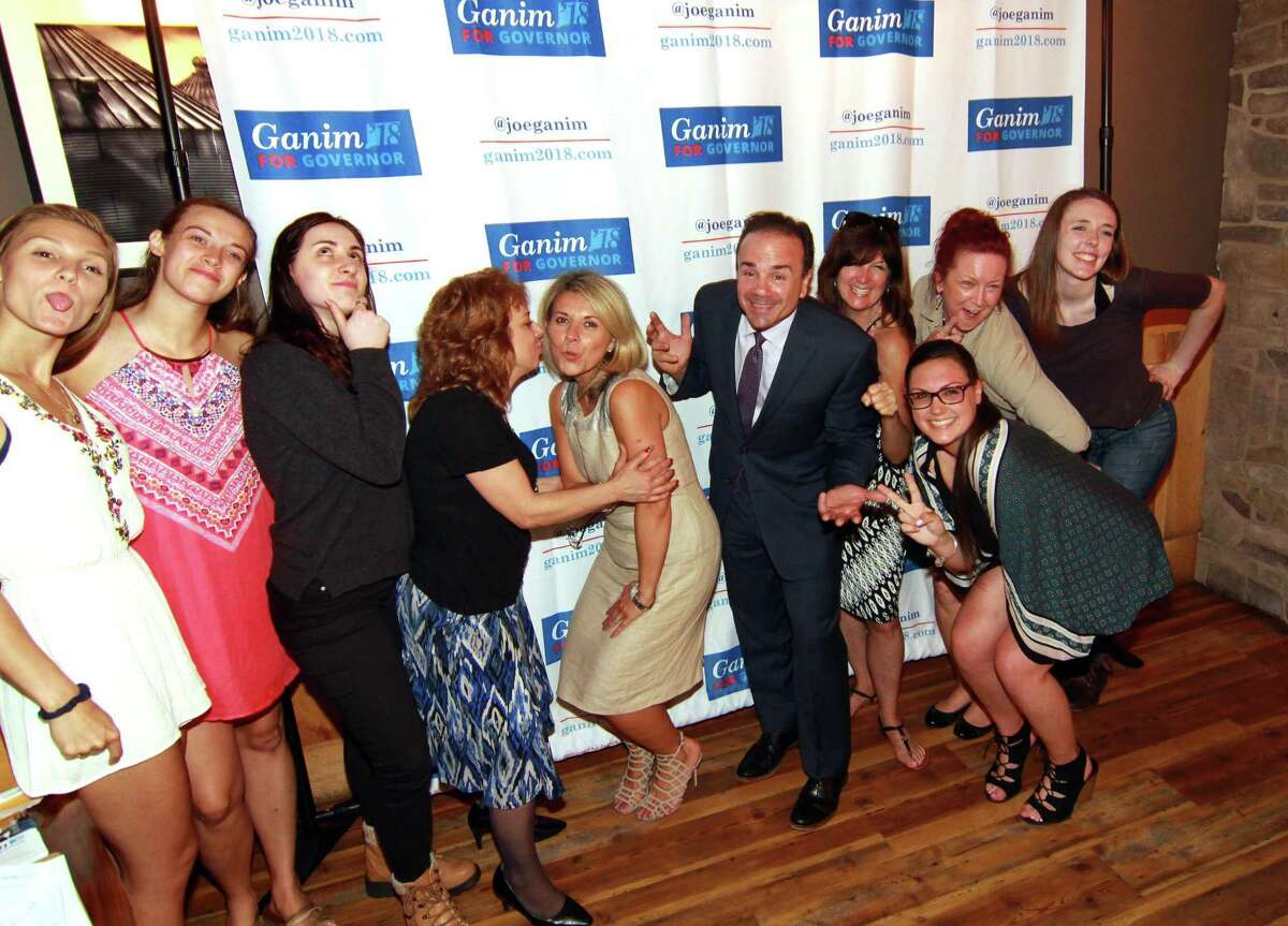 Supporters pose with Mayor Joe Ganim as he holds a fundraiser for his campaign for governor in May at Prime One Eleven in Trumbull.