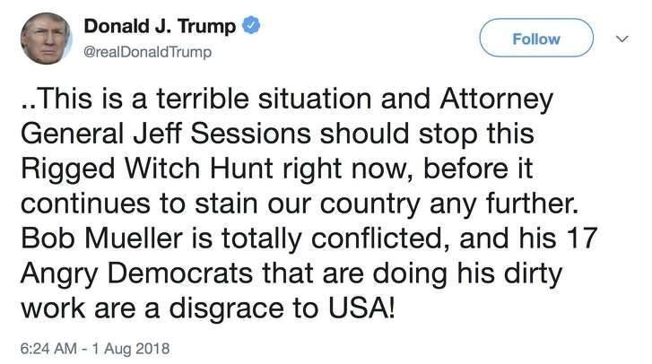 President Donald Trump's recent tweet about Attorney General Jeff Sessions and the Mueller investigation is obstruction of justice in plain sight, but the president's defense is, essentially, everyone does it.