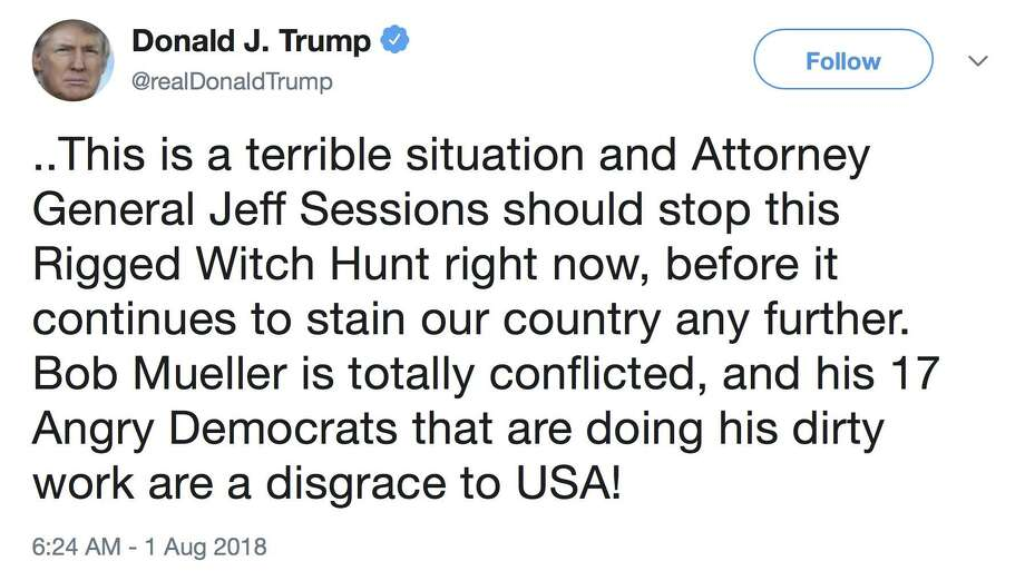President Donald Trump's recent tweet about Attorney General Jeff Sessions and the Mueller investigation is obstruction of justice in plain sight, but the president's defense is, essentially, everyone does it. Photo: /Associated Press / Twitter