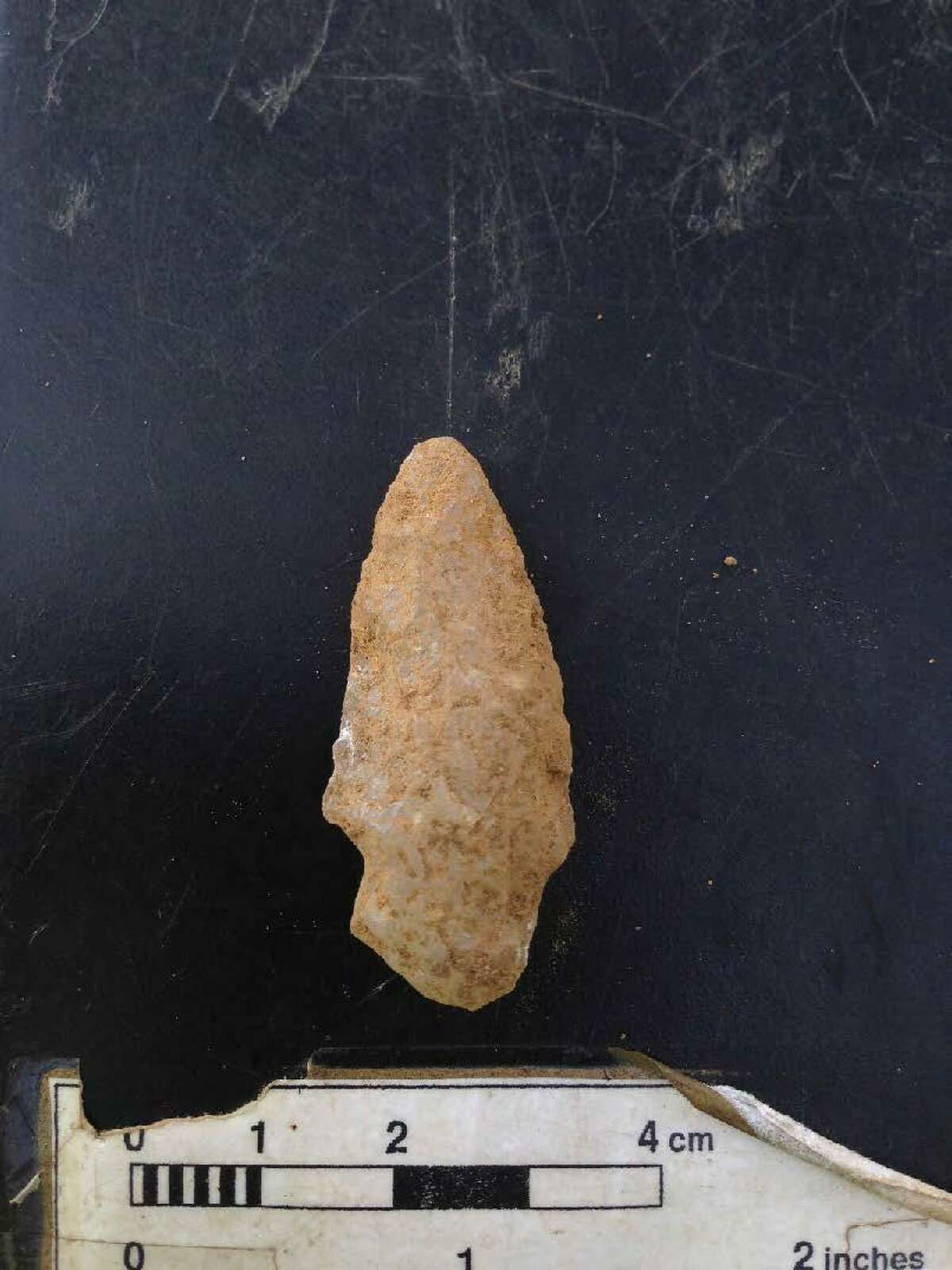 A Lamoka stone point unearthed at the Walk Bridge construction site in East Norwalk.