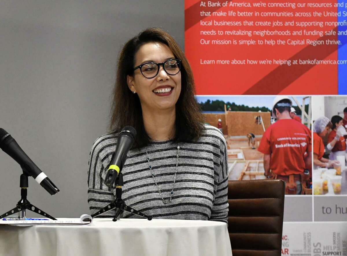 Jen Oneal, studio head for Vicarious Visions, speaks during a Women@Work Changemakers breakfast on Wednesday, Aug. 8, 2018, at the Hearst Media Center in Colonie, N.Y. The event was sponsored by Bank of America. (Will Waldron/Times Union)