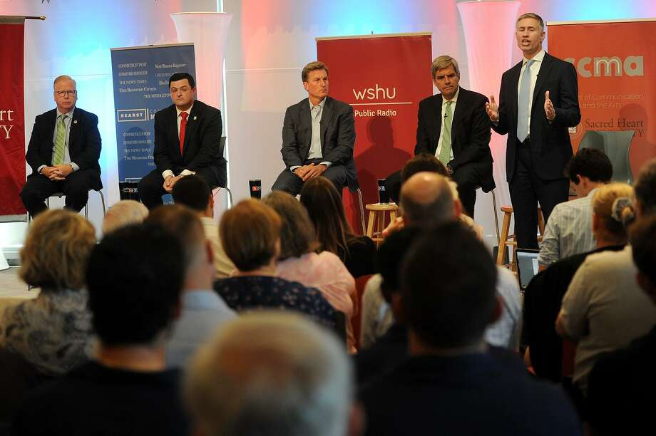 From left; Republican candidates for governor Mark Boughton, Tim Herbst, Steve Obsitnik, Bob Stefanowski, and David Stemerman during a recent debte. Photo: Brian A. Pounds / Hearst Connecticut Media / Connecticut Post