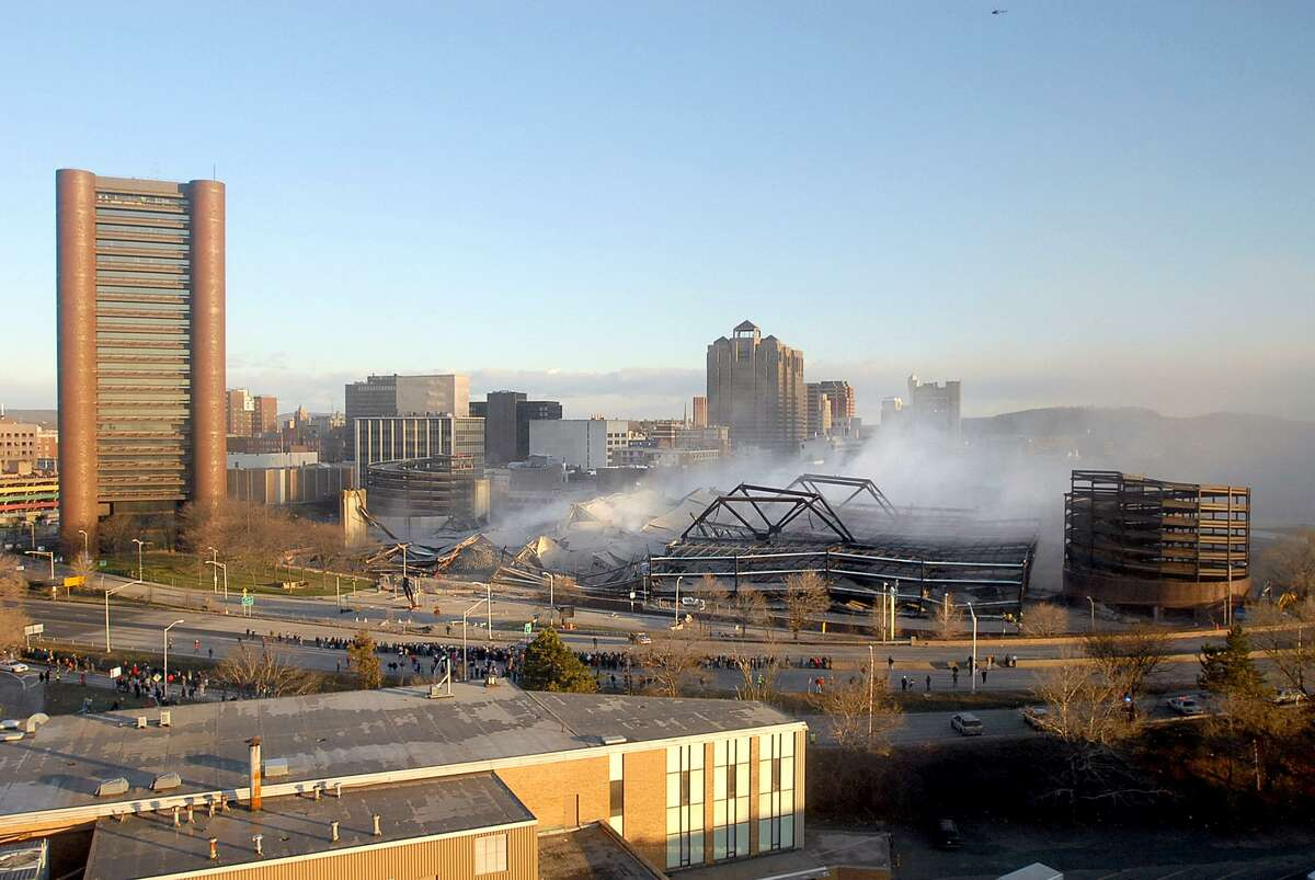 The New Haven coliseum, R.I.P., in this photo taken from Gateway building at 7:54:30, on Jan. 20, 2007.