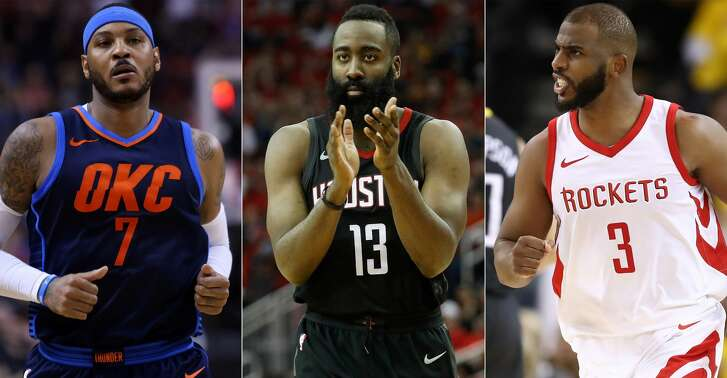 Carmelo Anthony, James Harden and Chris Paul will have ample opportunity to shine for the Rockets during key dates on the NBA's schedule.