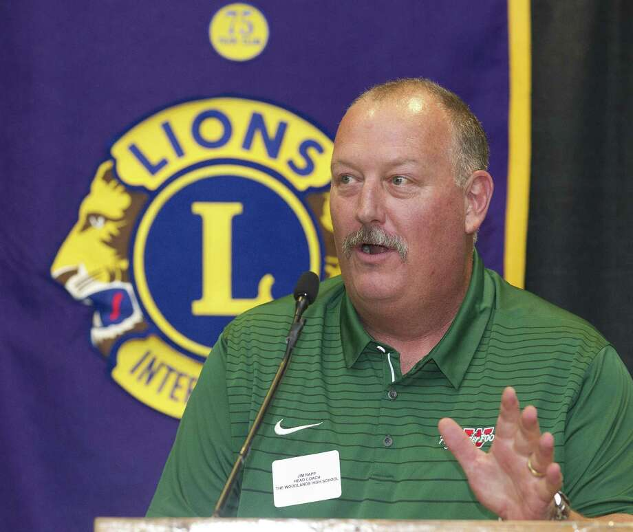 The Woodlands head coach Jim Rapp talks about the upcoming football season during the Conroe Noon Lions Club's annual Pigskin Preview at the Lone Star Convention & Expo Center on Wednesday, Aug. 8, 2018, in Conroe. Photo: Jason Fochtman, Staff Photographer / Houston Chronicle / © 2018 Houston Chronicle
