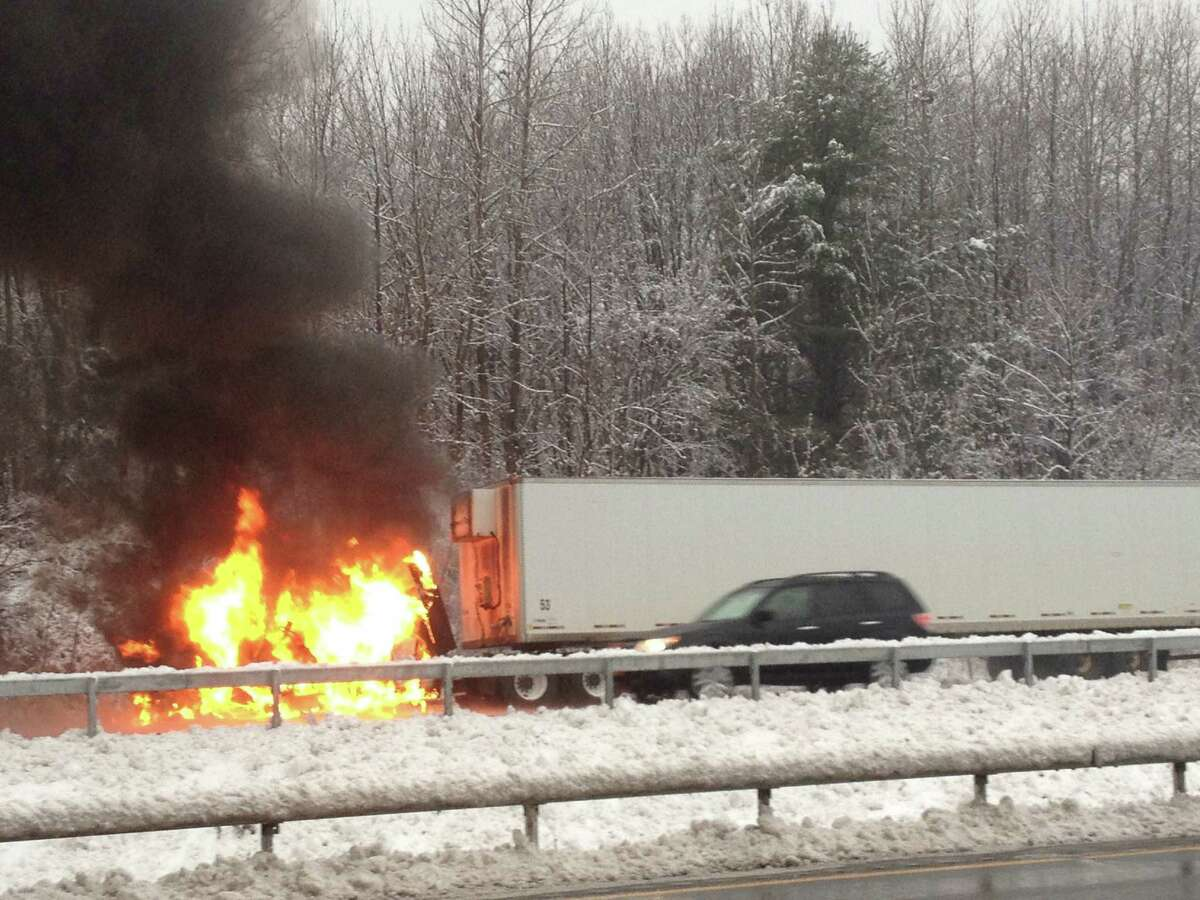 Times Union staffer Azra Haqqie was assigned to cover a truck fire on the Northway early one morning.